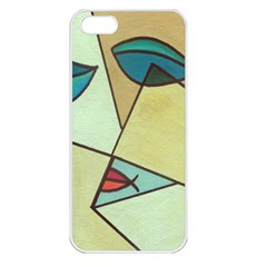 Abstract Art Face Apple iPhone 5 Seamless Case (White)
