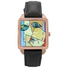 Abstract Art Face Rose Gold Leather Watch