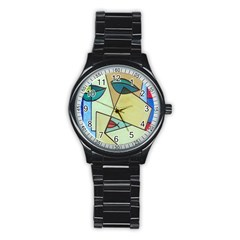 Abstract Art Face Stainless Steel Round Watch