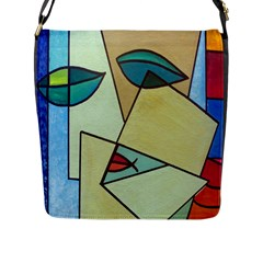 Abstract Art Face Flap Messenger Bag (L)