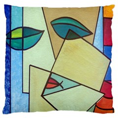 Abstract Art Face Large Flano Cushion Case (One Side)