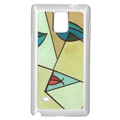 Abstract Art Face Samsung Galaxy Note 4 Case (White)