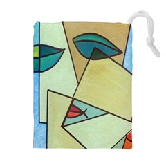 Abstract Art Face Drawstring Pouches (Extra Large)