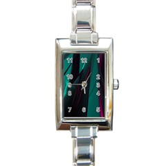 Abstract Green Purple Rectangle Italian Charm Watch