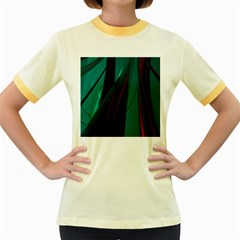 Abstract Green Purple Women s Fitted Ringer T-Shirts