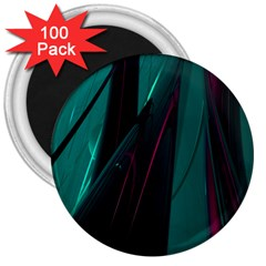 Abstract Green Purple 3  Magnets (100 pack)