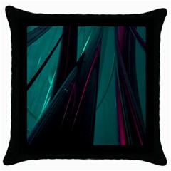 Abstract Green Purple Throw Pillow Case (Black)