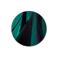 Abstract Green Purple Magnet 3  (Round)
