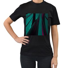 Abstract Green Purple Women s T-Shirt (Black) (Two Sided)