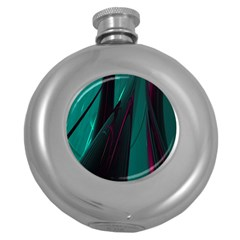 Abstract Green Purple Round Hip Flask (5 Oz)