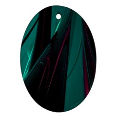 Abstract Green Purple Oval Ornament (Two Sides)