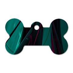 Abstract Green Purple Dog Tag Bone (two Sides)