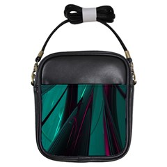 Abstract Green Purple Girls Sling Bags