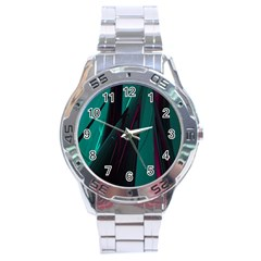 Abstract Green Purple Stainless Steel Analogue Watch