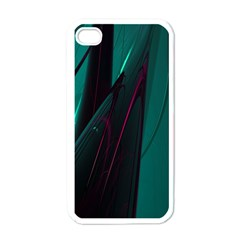 Abstract Green Purple Apple iPhone 4 Case (White)