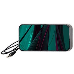 Abstract Green Purple Portable Speaker (Black)