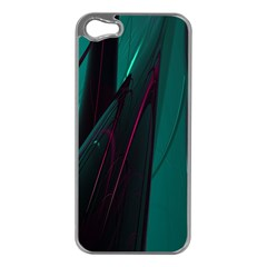 Abstract Green Purple Apple iPhone 5 Case (Silver)