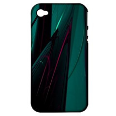 Abstract Green Purple Apple iPhone 4/4S Hardshell Case (PC+Silicone)