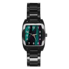 Abstract Green Purple Stainless Steel Barrel Watch
