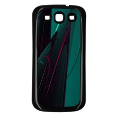 Abstract Green Purple Samsung Galaxy S3 Back Case (Black)