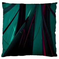 Abstract Green Purple Large Flano Cushion Case (Two Sides)