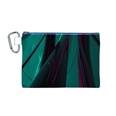 Abstract Green Purple Canvas Cosmetic Bag (M)