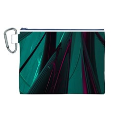 Abstract Green Purple Canvas Cosmetic Bag (L)
