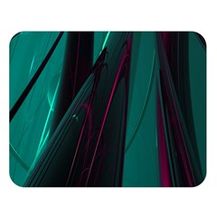 Abstract Green Purple Double Sided Flano Blanket (large)