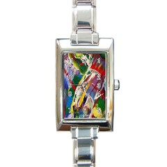 Abstract Art Art Artwork Colorful Rectangle Italian Charm Watch