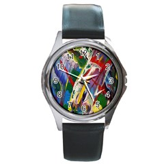Abstract Art Art Artwork Colorful Round Metal Watch