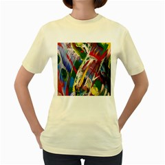 Abstract Art Art Artwork Colorful Women s Yellow T-Shirt