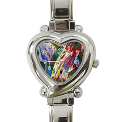 Abstract Art Art Artwork Colorful Heart Italian Charm Watch