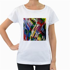 Abstract Art Art Artwork Colorful Women s Loose-Fit T-Shirt (White)