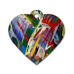 Abstract Art Art Artwork Colorful Dog Tag Heart (One Side)