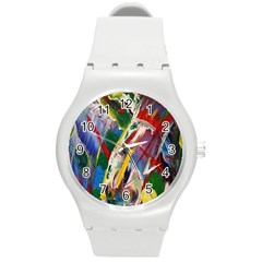 Abstract Art Art Artwork Colorful Round Plastic Sport Watch (M)