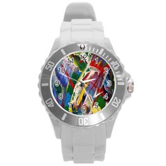 Abstract Art Art Artwork Colorful Round Plastic Sport Watch (L)