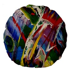 Abstract Art Art Artwork Colorful Large 18  Premium Round Cushions