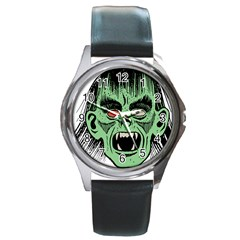 Zombie Face Vector Clipart Round Metal Watch