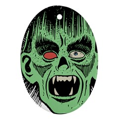 Zombie Face Vector Clipart Ornament (Oval)