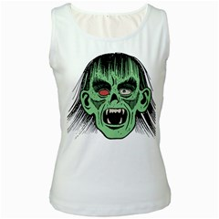 Zombie Face Vector Clipart Women s White Tank Top