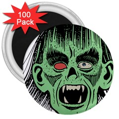 Zombie Face Vector Clipart 3  Magnets (100 pack)