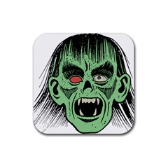 Zombie Face Vector Clipart Rubber Square Coaster (4 pack)