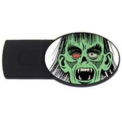 Zombie Face Vector Clipart USB Flash Drive Oval (2 GB)