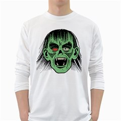 Zombie Face Vector Clipart White Long Sleeve T Shirts