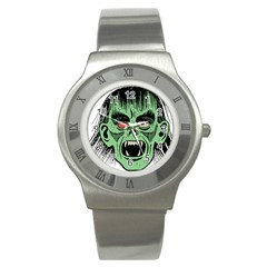 Zombie Face Vector Clipart Stainless Steel Watch
