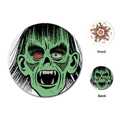 Zombie Face Vector Clipart Playing Cards (Round)