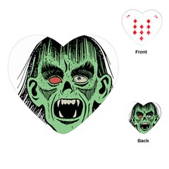 Zombie Face Vector Clipart Playing Cards (Heart)