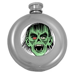 Zombie Face Vector Clipart Round Hip Flask (5 oz)