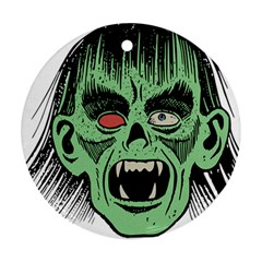 Zombie Face Vector Clipart Round Ornament (Two Sides)