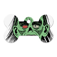 Zombie Face Vector Clipart Dog Tag Bone (One Side)
